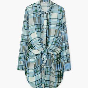 Plaid Tie Front Button Down Long Shirt